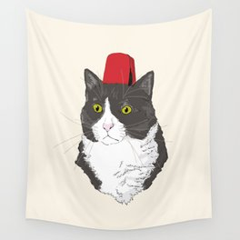 Fez Hat Cat Wall Tapestry