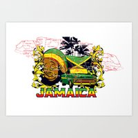 jamaica Art Prints featuring Jamaica by Tshirt-Factory
