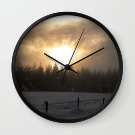 Foggy Sunset Wall Clock