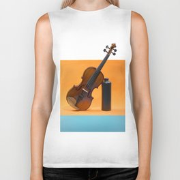 Still-life with a violin and a dark bottle Biker Tank
