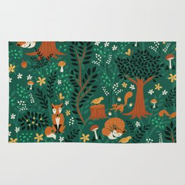 Foxes Playing in the Emerald Forest Rug