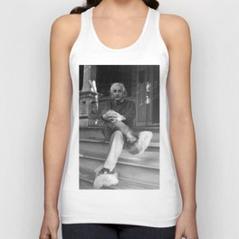 Albert Einstein in Fuzzy Slippers Classic Black and White Satirical Photography - Photographs Unisex Tank Top