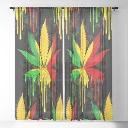 Marijuana Leaf Rasta Colors Dripping Paint Sheer Curtain