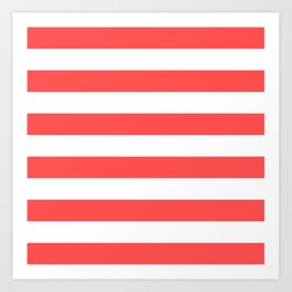 Coral Stripes Art Print