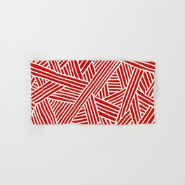Abstract Navy Red & White Lines and Triangles Pattern Hand & Bath Towel