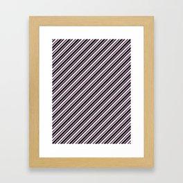 Pink Lace Pink and Black Diagonal RTL Var Size Stripes Framed Art Print