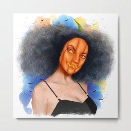 Pumpkin Girl in Halloween Metal Print