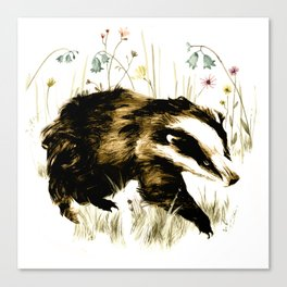 Bluebell Badger Canvas Print