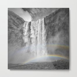 ICELAND Skogafoss Double Rainbow Metal Print