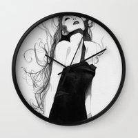 lindsay lohan Wall Clocks featuring Lindsay by J. Nicole