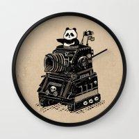 panda Wall Clocks featuring Panda by Ronan Lynam