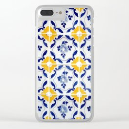 Blue and yellow tile Clear iPhone Case