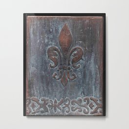 Fleur De Lis Patina Plaque - Original Art by Tracy Sayers Trombetta Metal Print