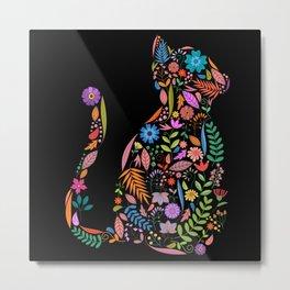 Fancy And Fine Flower Cat Garden Design Metal Print