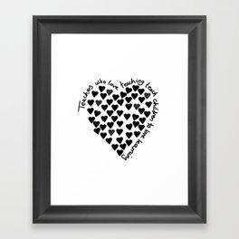 Hearts Heart Teacher Black on White Framed Art Print