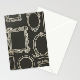 Empty White Frames on Black - Whimsical and Kitschy Hand Drawn Frames Stationery Cards