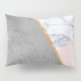 Marble Blush Gold gray Geometric Pillow Sham