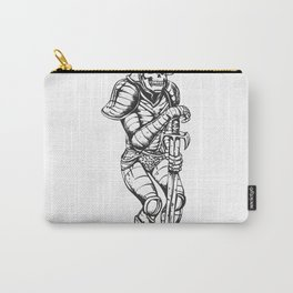 knight skeleton - warrior illustration - skull black and white Carry-All Pouch