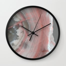 Grey Marble with Pink Wall Clock