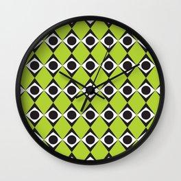 Geometric Pattern #80 (lime green diamonds) Wall Clock