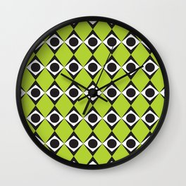 Geometric Pattern 80 (lime green diamonds) Wall Clock