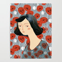 Girl on poppies Poster