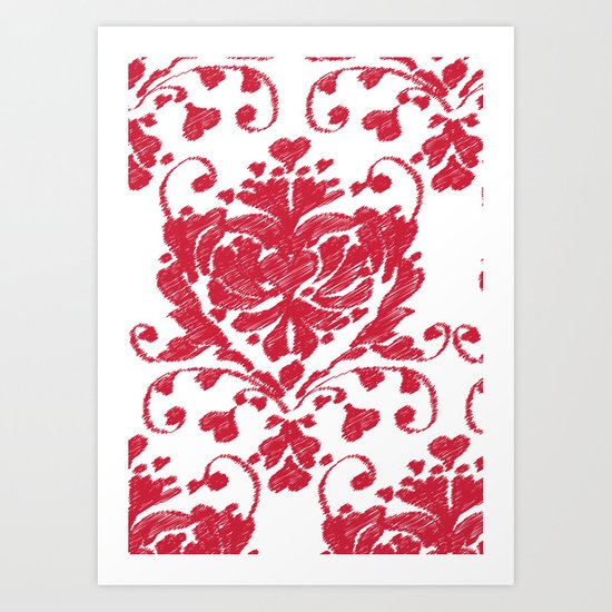 giving hearts giving hope: red damask Art Print