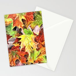Autumn Leaves with Raindrops, Fall Art, Colorful Leaves, Anne Hockenberry Stationery Cards