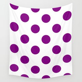 Large Polka Dots - Purple Violet on White Wall Tapestry