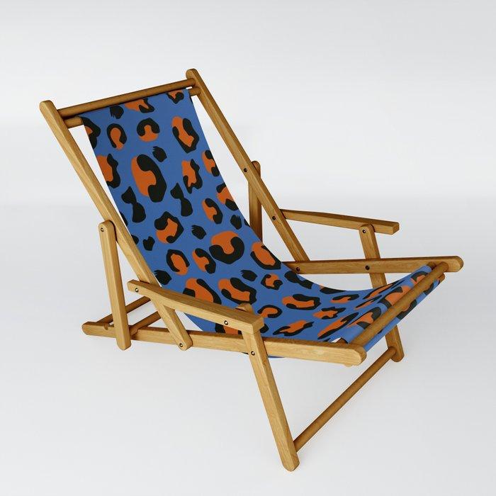Jungle - Leopard Pattern Blue Sling Chair