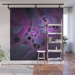 Luminous Abstract Fractal Art Pink And Blue Wall Mural