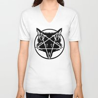 pentagram V-neck T-shirts featuring Pentagram Wolf Inverted by Mohrne