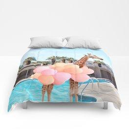 Giraffe Palm Springs Comforters