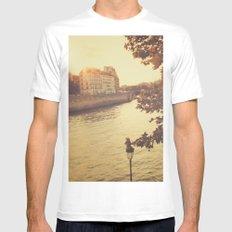 Paris sunset White MEDIUM Mens Fitted Tee