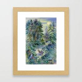 Watercolor Night Scene Framed Art Print