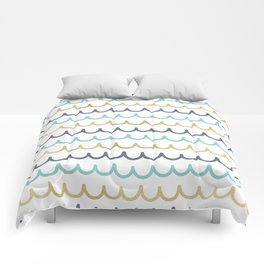 Golden Pastel Waves Comforters