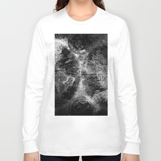 Antique Map Space Stars Black and White Long Sleeve T-shirt