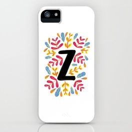Letter 'Z' Initial/Monogram With Bright Leafy Border iPhone Case
