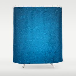 Royal Blue Tooled Leather Shower Curtain