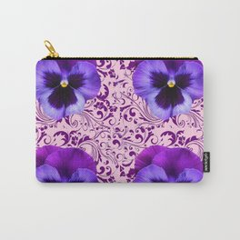 PINK ART &  LILAC PURPLE PANSY SPRING FLORAL PATTERN Carry-All Pouch
