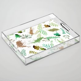 Green Leaves, Paint Splatter, Pattern Acrylic Tray