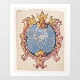 Monogrammed coat of arms, Jan Brandes (possibly), 1787 - 1808 Art Print