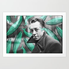 Albert Camus with calm whales Art Print