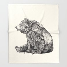 Bear // Graphite Throw Blanket