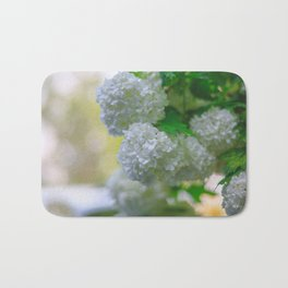 White Viburnum Flowers Branch Close Up Spring Bath Mat