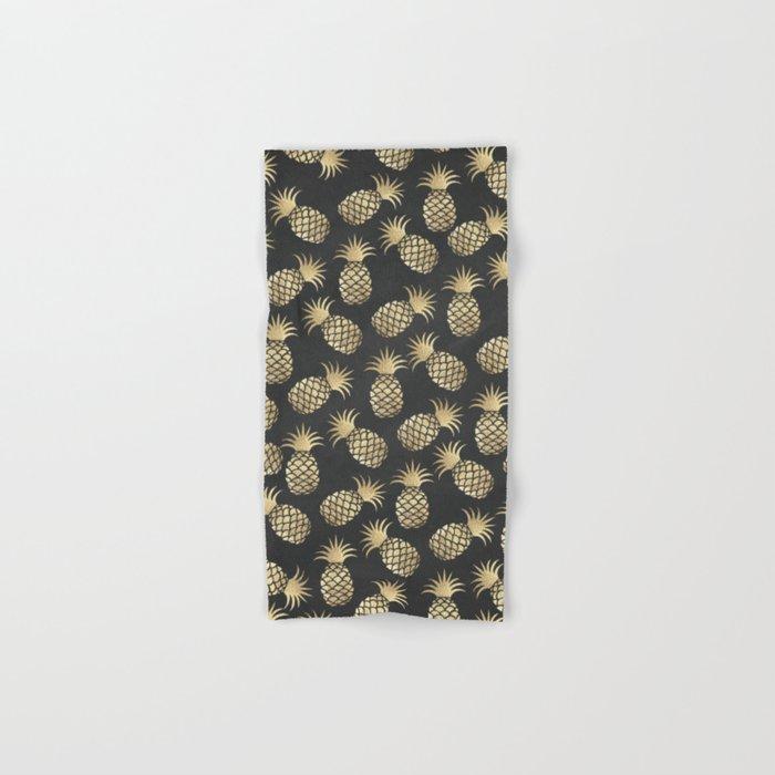 Modern chalk black elegant faux gold pineapple pattern Hand & Bath Towel