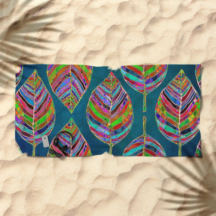 Multicolor Leaf Pattern Beach Towel