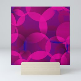 Abstract soap of lilac molecules and bubbles on a dark background. Mini Art Print