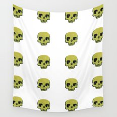 Skull In Gold Wall Tapestry