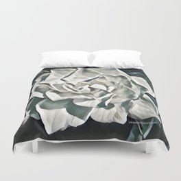 White Azalea Flower with Green Leaves Duvet Cover